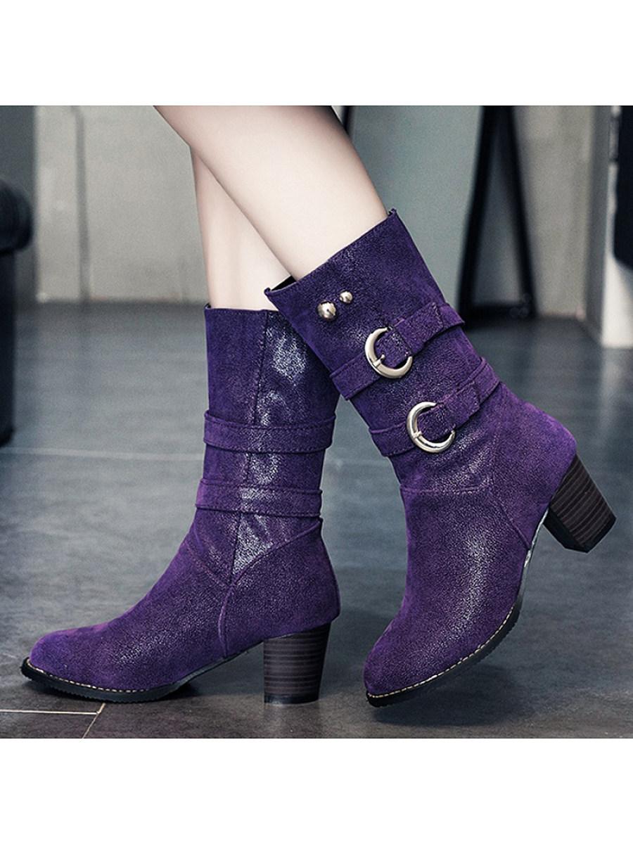 BerryLook Fashion belt buckle thick heel women's Boots