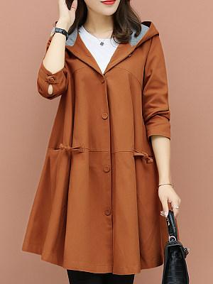 Casual suelto manto de abrigo con capucha