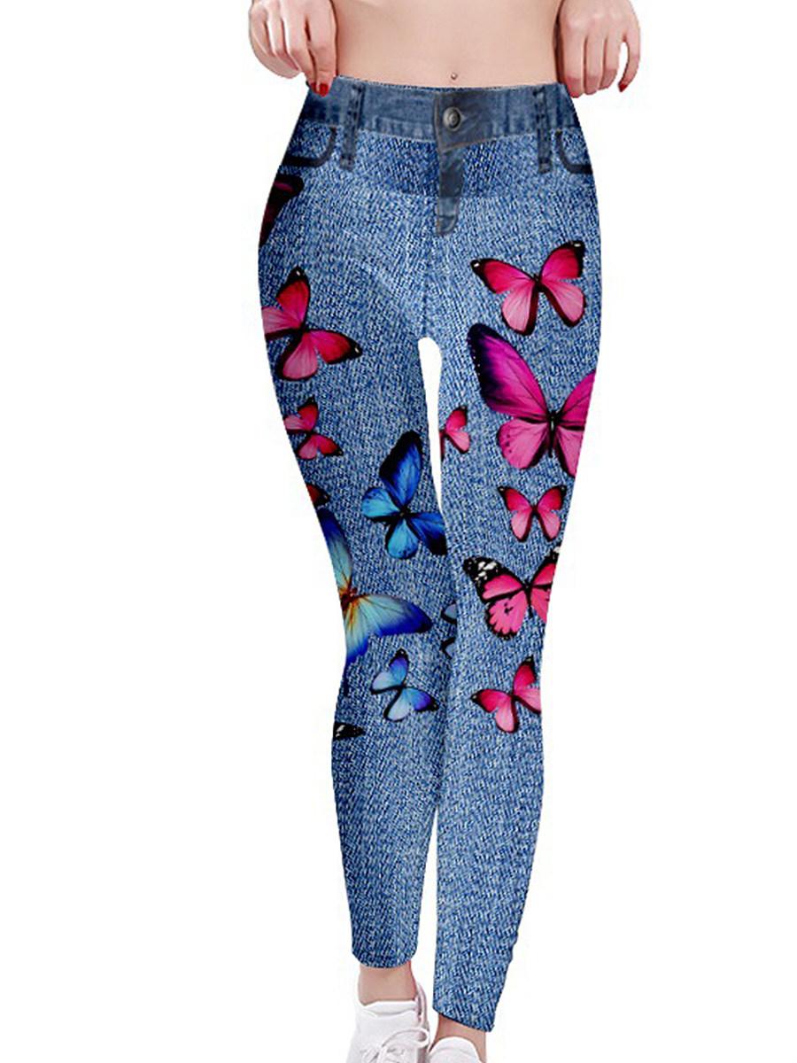 BerryLook Fashion print imitation denim stretch leggings yoga pants