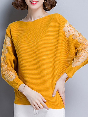 Patchwork Batwing Sleeve Pullover