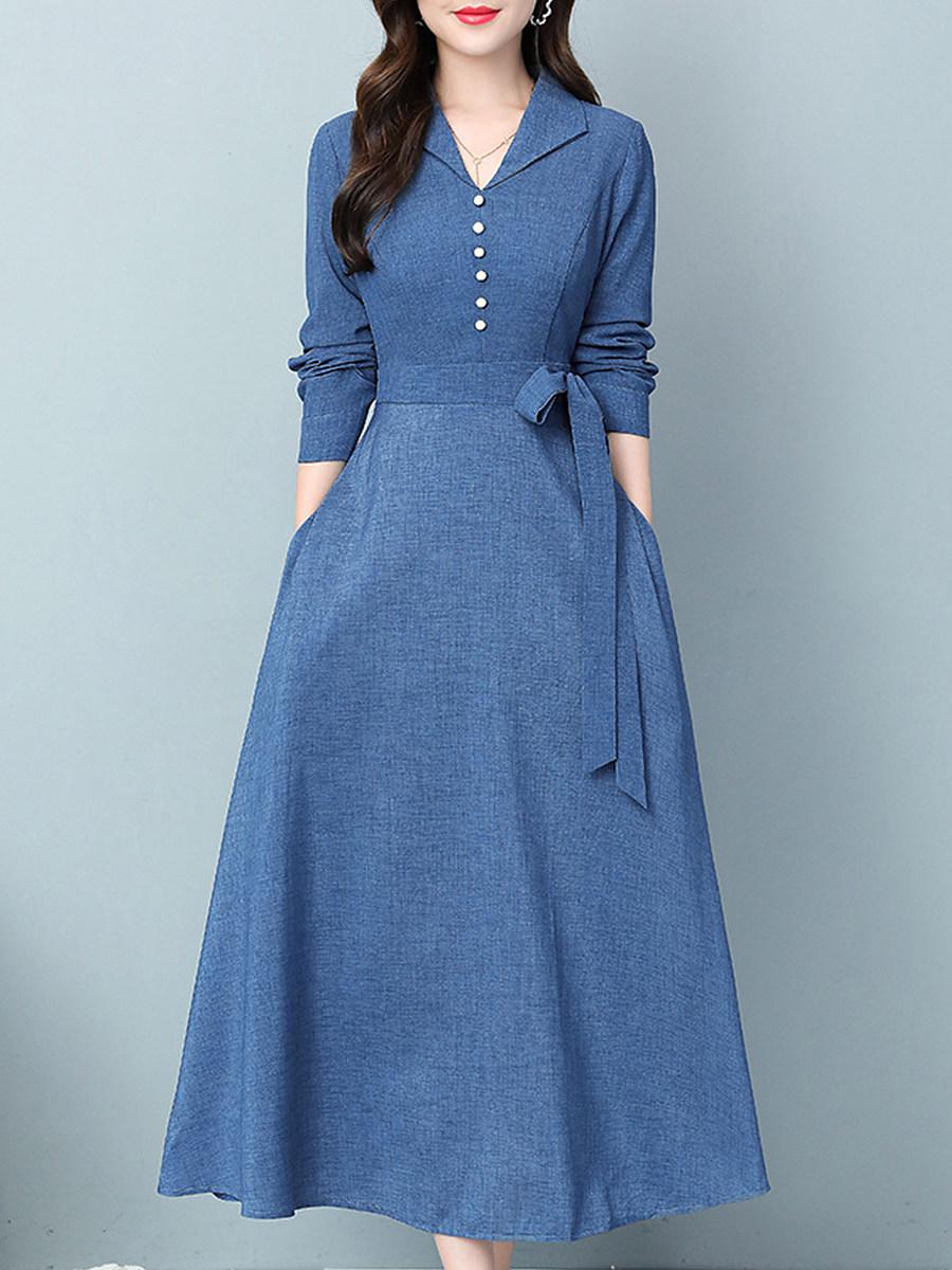 Long-sleeved Solid Color V-neck Dress