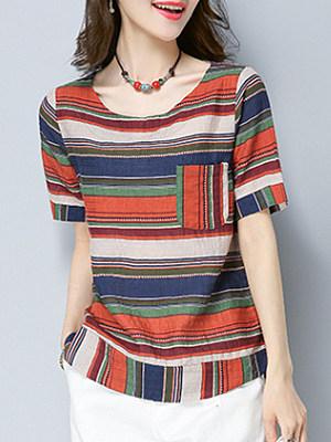 Round Neck Striped Short Sleeve Linen T-shirt, 23703261