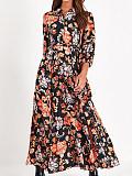 Image of Printed Long-sleeved Dress