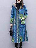 Image of Cotton and linen printed mid-length plus velvet thick hooded jacket
