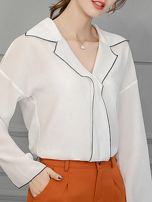 Turn Down Collar Patchwork Long Sleeve Blouse, 11168480