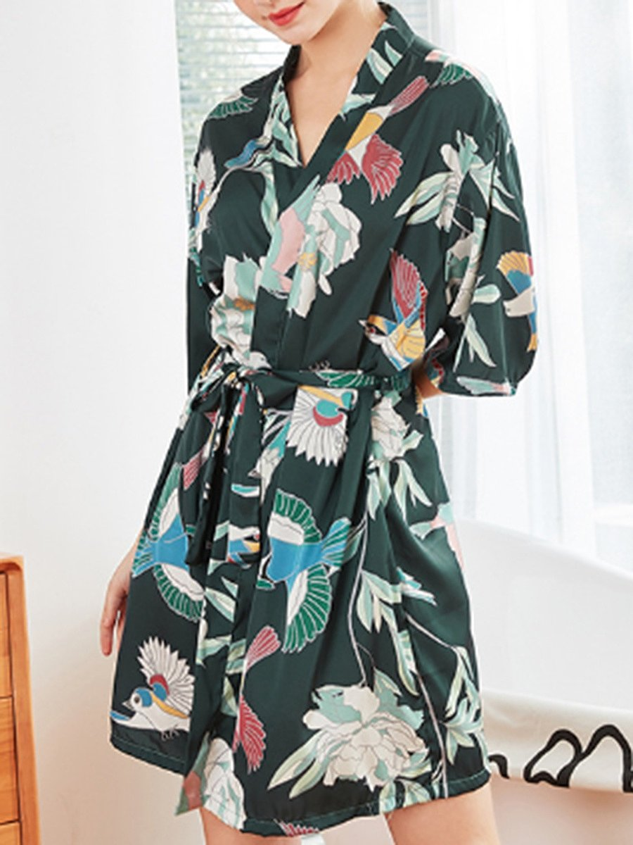 Fashion - silk short style bathrobe ladies spring and summer large size bathrobe robe robe home wear