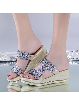Women's Casual Rhinestone Phoenix Thick Sandals