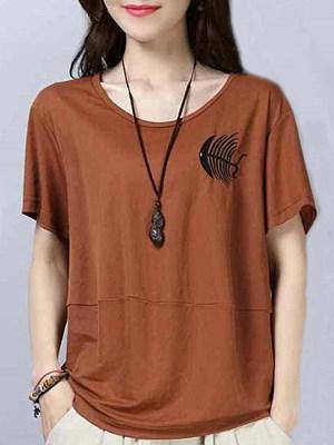 Round Neck Printed Short Sleeve T-shirt, 11290490