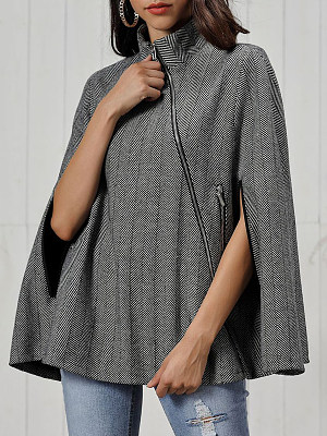 Women's Fashion Twill Woolen Cape Cloak gender:female, colour:gray, season:autumn,winter,spring, texture:polyester, sleeve_length:long sleeve, style:japanese and korean style, collar_type:short high collar, dress_occasion:daily, clothing length:72,shoulder width:41,