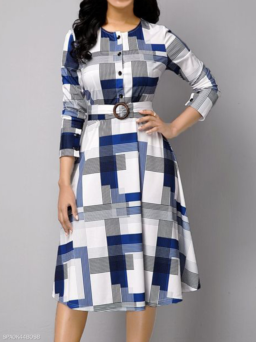 Round Neck Long Sleeve Button Belt Dress