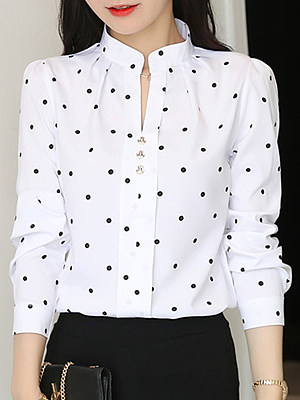 V Neck Dot Long Sleeve Blouse, 11415189