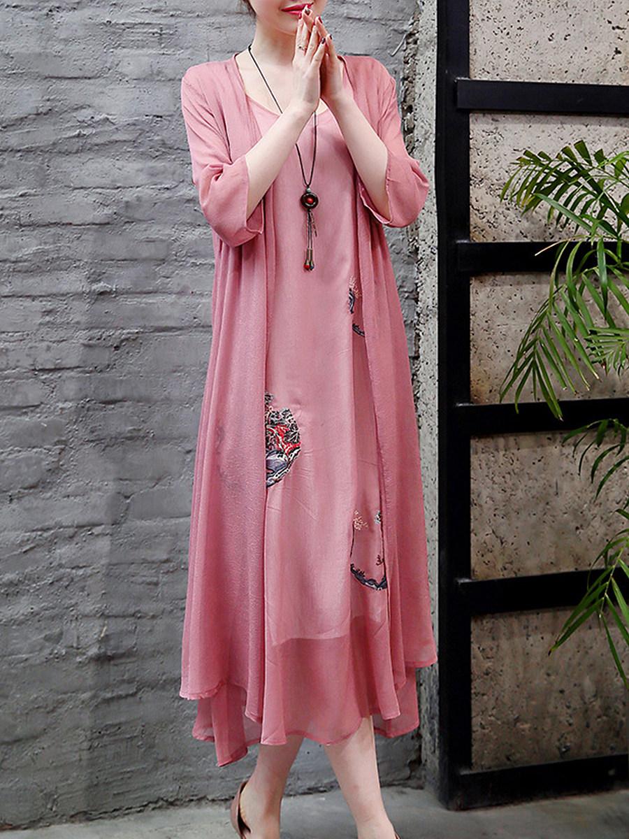BerryLook Round Neck Printed Two-piece Maxi Dress