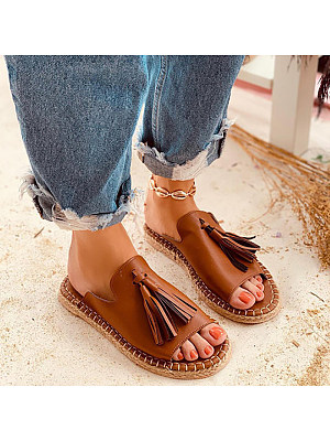 Berrylook Women Simple Tassel Solid Color Sandals clothing stores, fashion store, Solid Sandals,
