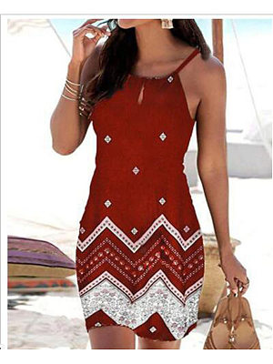 Leisure holiday style positioning flower sling slim sleeveless dress