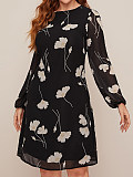 Image of Floral Long Sleeve Round Neck Dress