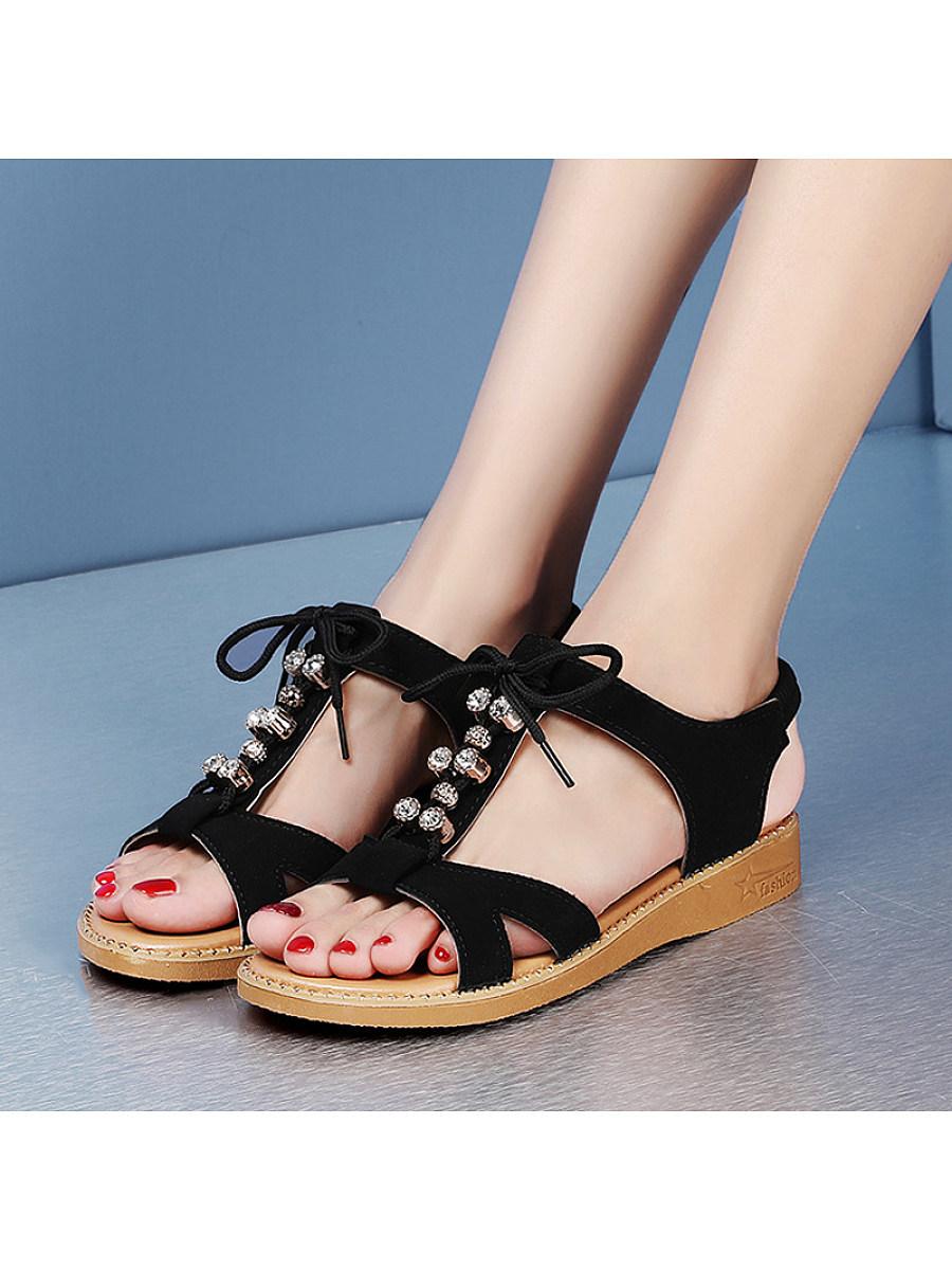 BerryLook Women's bohemian fish mouth flat sandals