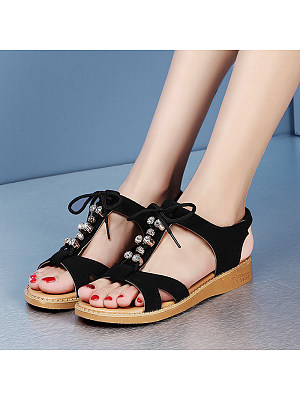 Women's bohemian fish mouth flat sandals, 23734991