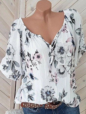 Tie Collar Floral Short Sleeve Blouse фото