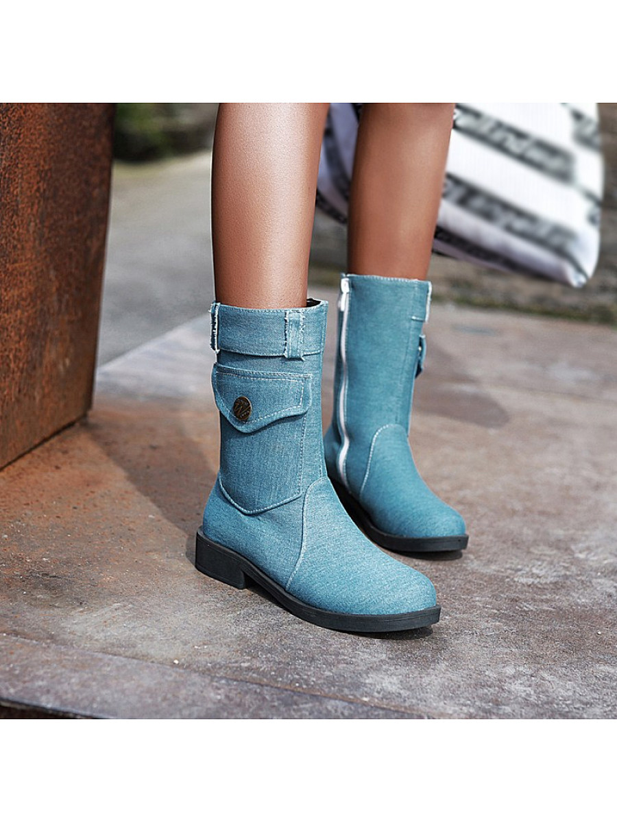 Fashionable zipper mid tube denim women's Boots - from $31.95