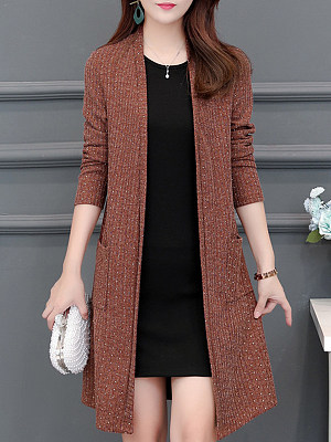 Elegant Long Sleeve Knit Cardigan фото