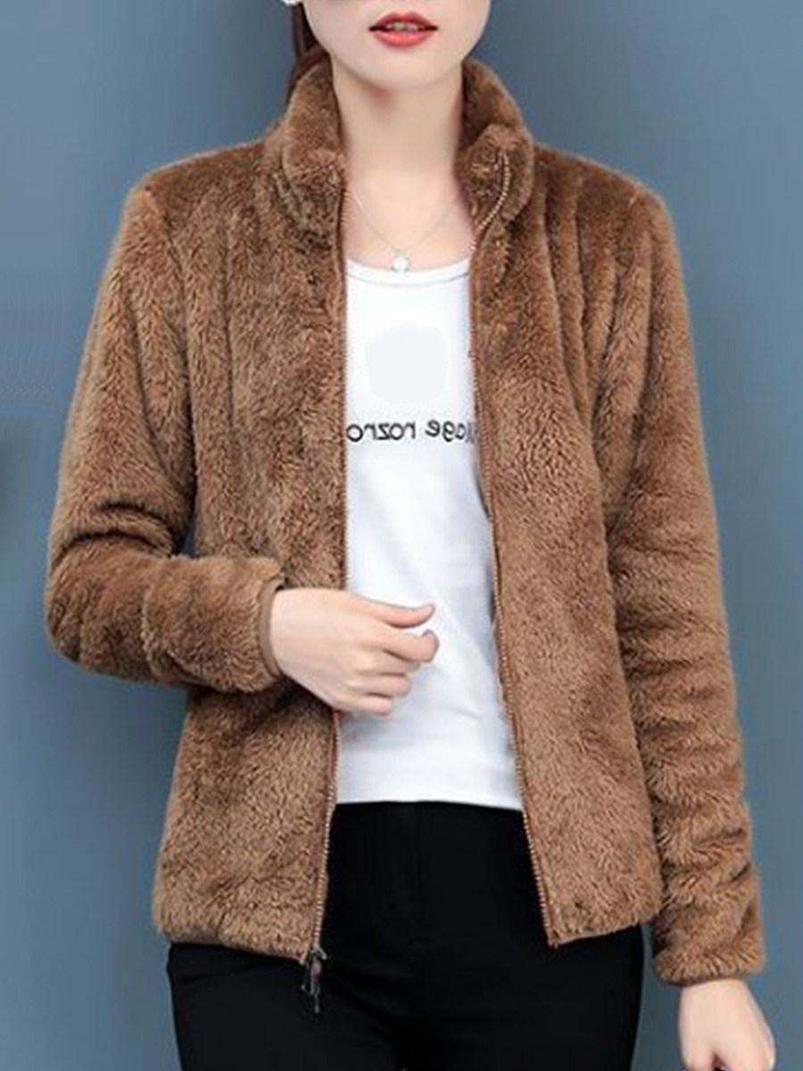 Fashion Plush Long Sleeve Metal Zipper Korean version Coat - from $24.95