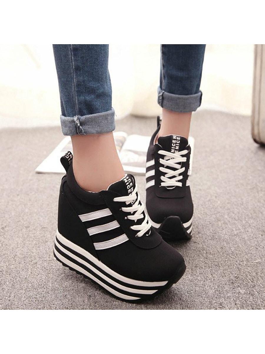 BerryLook Women's lace-up platform sports shoes