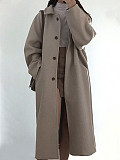 Image of All-match plus size woolen coat solid color women's coat