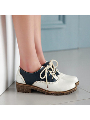 Vintage Color Matching Women Lace-up Flats, 10860993