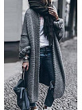 Image of Casual loose long-sleeved knitted cardigan