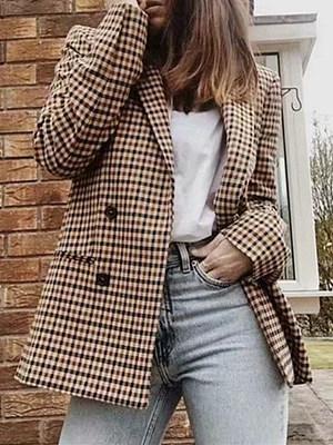 Retro Lapel Check Double Breasted Slim Blazer, 10488196