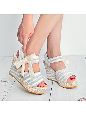 Bow Knot Open Toe Wedge Mouth Platform Sandals