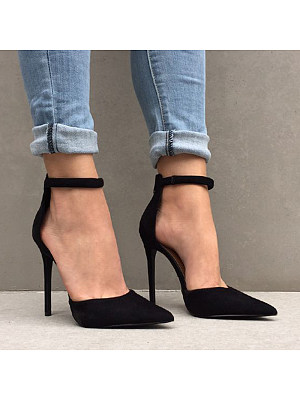 BERRYLOOK / European and American pointed toe high-heeled stiletto side sexy high-heeled sandals
