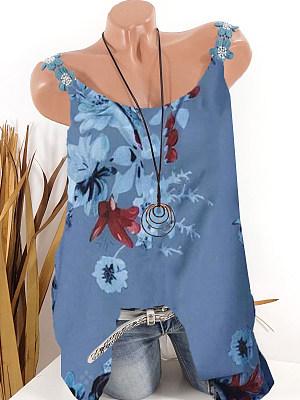 Round Neck Printed Sleeveless T-Shirt, 11297631