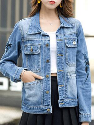 Women's Fashion Embroidered Long Sleeve Denim Jacket