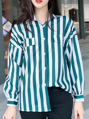 Turn Down Collar Striped Long Sleeve Blouse, 11463490