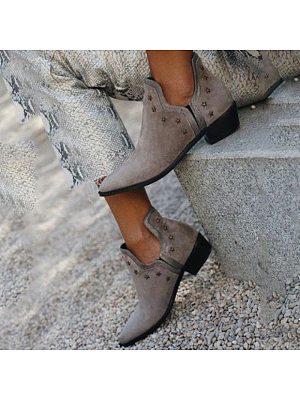 Brief Women Rivet Pointed Toe Mid Heel Boots, 10719000