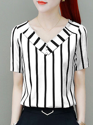 V Neck Striped Short Sleeve Blouse, 11314259
