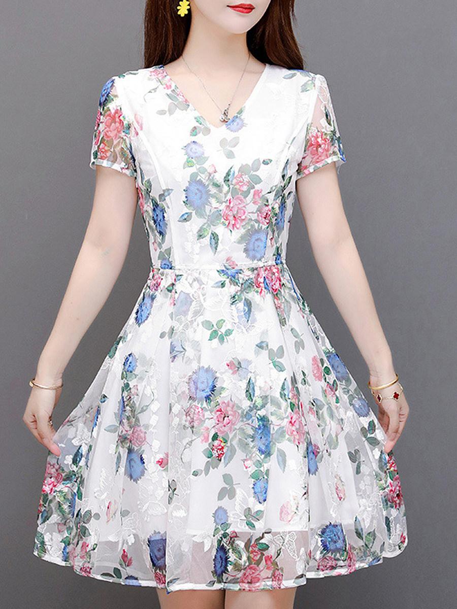BerryLook V- Neck Printed Skater Dress