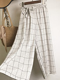 Autumn and winter thin woolen cloth casual plaid cropped pants