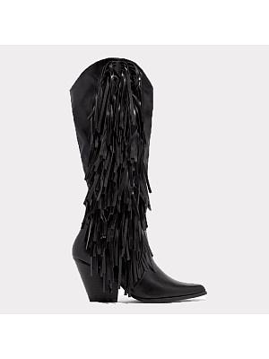 berrylook Women's mid-heel tassel boots