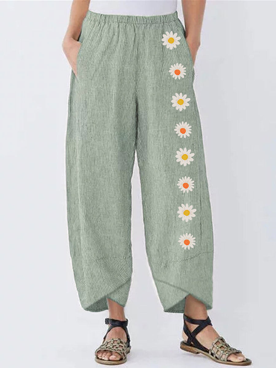 BerryLook Casual Cotton And Linen Printed Striped Elastic Waist Pants