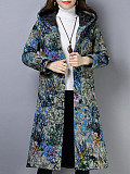 Image of Cotton and linen printed cotton jacket thick retro hooded cotton jacket