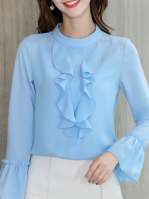 Band Neck Elegant Plain Long Sleeve Blouse, 11168725