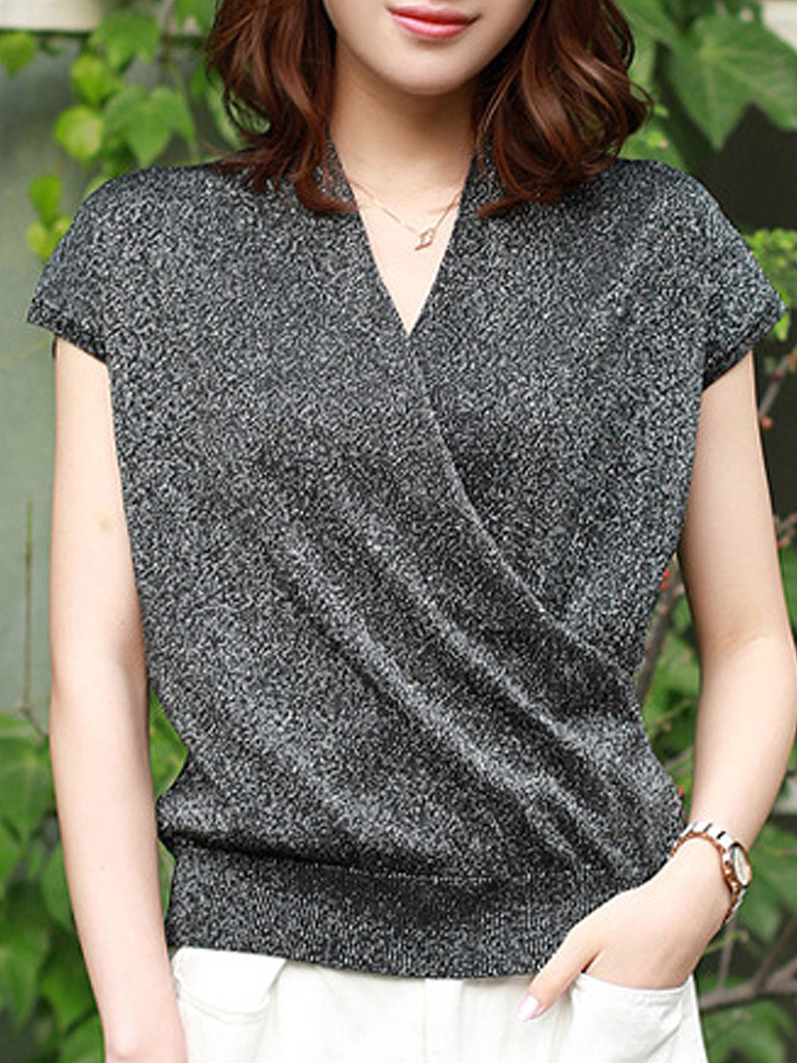 V Neck Plain Short Sleeve Knit Pullover