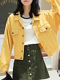 Casual solid colour loose folding collar denim jacket