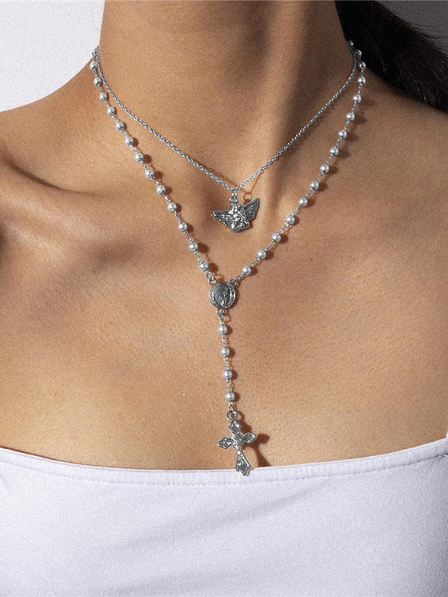 Vintage Temperament Angel Cross Tassel Necklace