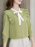 Tie Collar Patchwork Long Sleeve Blouse
