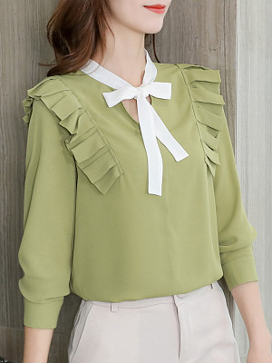 Tie Collar Patchwork Long Sleeve Blouse, 11167747