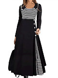 Image of Long-Sleeved Waist Striped Round Neck Dress