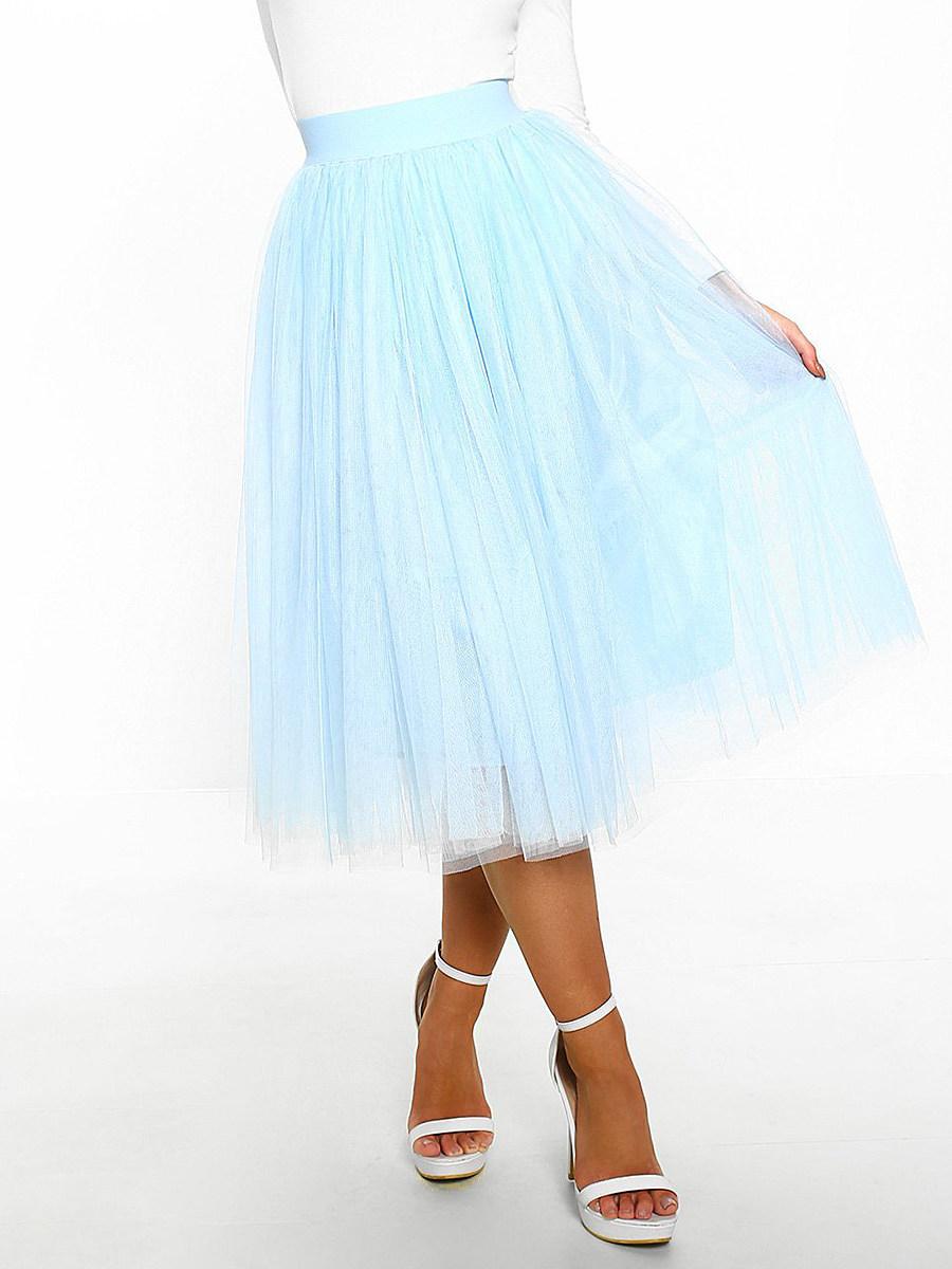 Fashionable multicolor high waist mesh A-line skirt